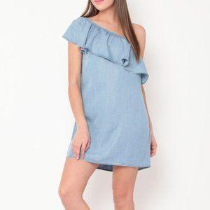 Denim A-Line Off The Shoulder Mini Dress Medium